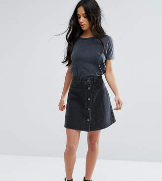 Noisy May Petite Button Through Denim Skirt