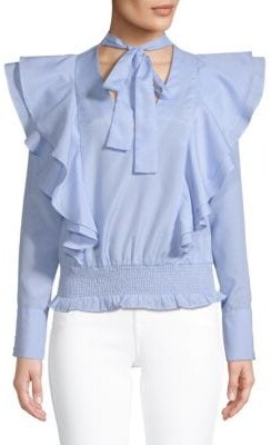 ENGLISH FACTORY Ruffled Long-Sleeve Cotton Top