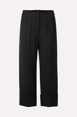 Burberry Cropped Wool And Silk-blend Wide-leg Pants - Black