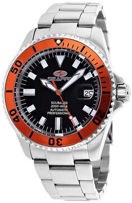 Seapro Scuba 200 Mens Black and Silver-Tone Stainless Steel Watch
