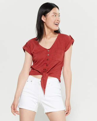 Almost Famous V-Neck Pocket Knotted Top