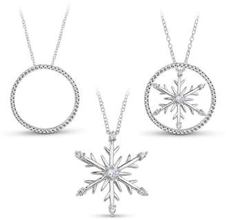 FINE JEWELRY Sterling Silver 3-in-1 Cubic Zirconia Snowflake Necklace