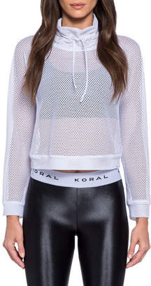 Koral Activewear Pump Open Mesh Cropped Pullover