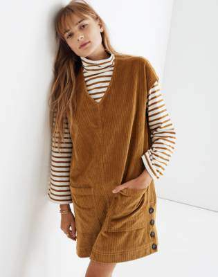 Madewell Corduroy Side-Button Shift Dress