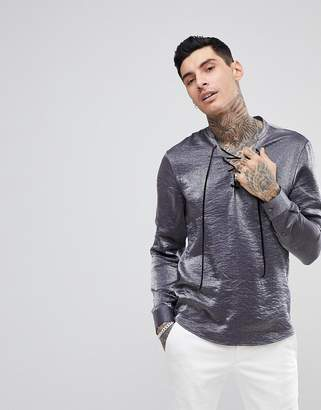 Asos DESIGN regular fit shirt with lace up collar in silver