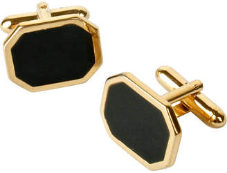 One Kings Lane Vintage Black Enamel & Gold-Plated Cuff Links - N.P.Trent Antiques
