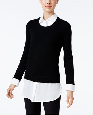 Charter Club Cashmere Layered-Look Sweater, Only at Macy's $159 thestylecure.com