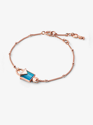 Michael Kors 14k Rose Gold-Plated Sterling Silver Lock Bracelet