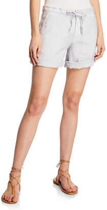 120% Lino Drawstring Turn-Up Cuffed Shorts