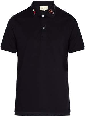 Gucci Embroidered cotton-piqué polo shirt