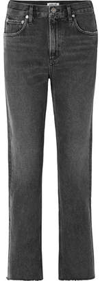 A Gold E Agolde AGOLDE - Cherie Distressed High-rise Straight-leg Jeans - Charcoal