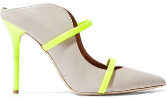 Malone Souliers Maureen 100 Neon Patent Leather-trimmed Suede Mules - Gray