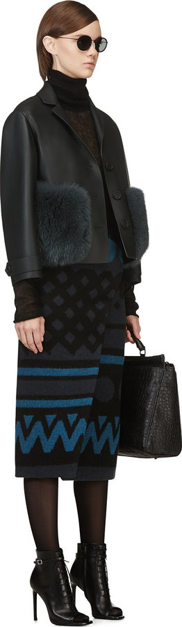 Burberry Black & Blue Geometric Wrap Skirt