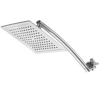 RAZOR RazorTM Mega Size 9-inch Chrome Face Square Rainfall Shower with Arch Design 15-inch Stainless Steel Extension Arm / Premium Chrome