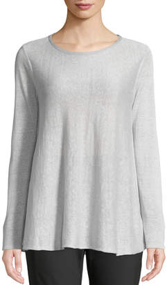 Lafayette 148 New York Wispy Linen-Blend Bateau-Neck Sweater, Silver
