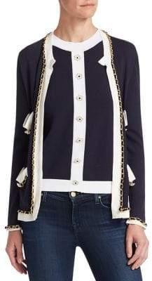 Edward Achour Braid Trim Embellished Cardigan