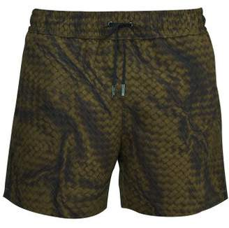 Bottega Veneta Intrecciato Print Swim Shorts - Mens - Khaki