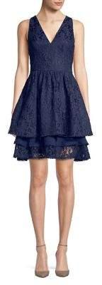 Eliza J Tiered Lace Fit-&-Flare Dress