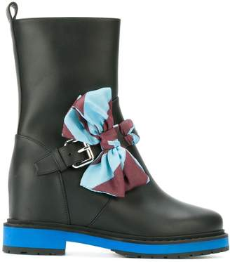 Fendi leather boots with bow detail