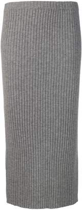 Allude ribbed knit midi skirt