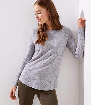 LOFT Speckled Shirttail Sweater