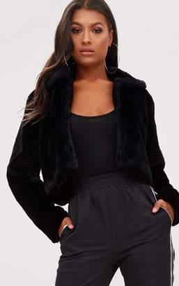 PrettyLittleThing Black Cropped Faux Fur Coat