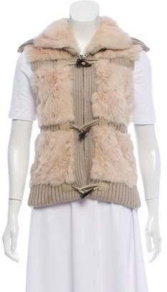 Yves Salomon Fur-Accented Rib Knit Vest