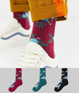 Asos DESIGN sports style socks with all over floral 3 pack