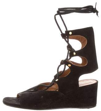 Chloé Suede Lace-Up Wedges