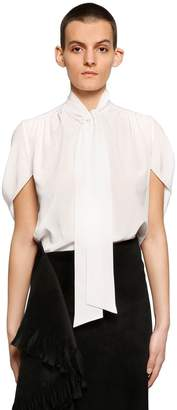 Balenciaga Bow Collar Silk Crepe De Chine Shirt