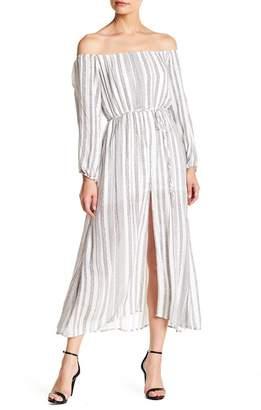 Wild Honey Striped Off-The-Shoulder Long Sleeve Dress