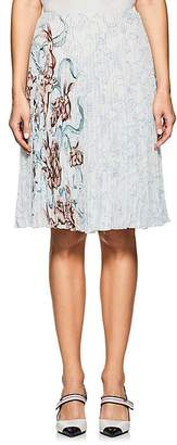 Prada Women's Bunny-Print Pleated Georgette Midi-Skirt