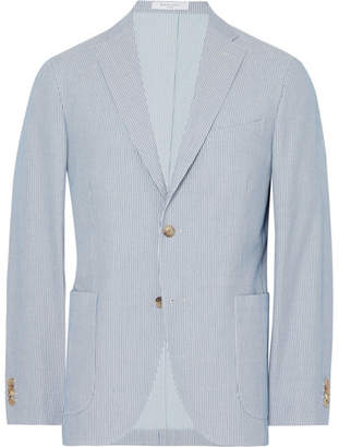 Boglioli Light-Blue Slim-Fit Unstructured Striped Cotton Blazer