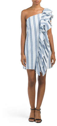 Juniors One Shoulder Striped Dress
