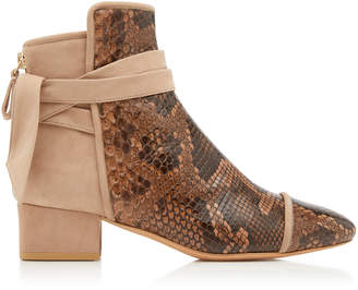 Alexandre Birman Cathrine Python and Suede Ankle Boots