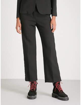 MM6 MAISON MARGIELA Popper-side straight high-rise wool-blend trousers