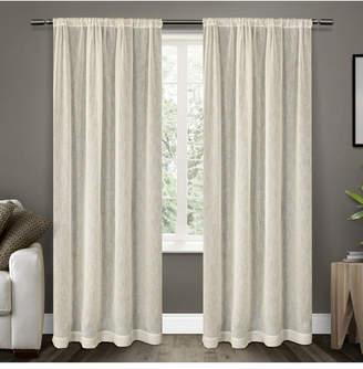 Exclusive Home Belgian Textured Sheer Rod Pocket Curtain Panel Pair