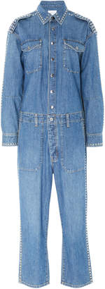 Current/Elliott Crew Cropped Studded Denim Jumpsuit