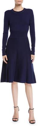 Lela Rose Crewneck Long-Sleeve Fit-and-Flare Pointelle Knit Dress