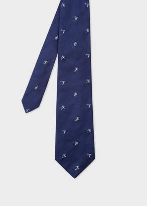 Paul Smith Men's Navy Silk Tie With Embroidered Blue Footballers