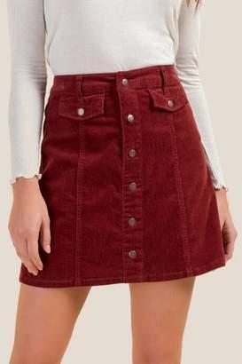 francesca's Ava Button Front Corduroy Skirt - Brick