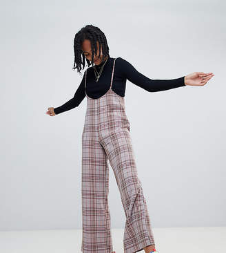 Reclaimed Vintage inspired check PANTS with suspenders