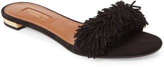 Aquazzura Black Wild Thing Fringe Slide Sandals