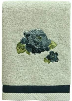 """Bacova Guild Navy Floral cream terry 16"""" x 26"""" Hand Towel"""