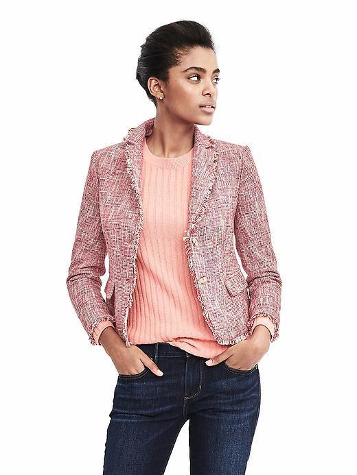 Banana Republic Pink Tweed Fringe Blazer