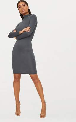 PrettyLittleThing Basic Charcoal Grey Roll Neck Midi Dress