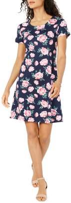Karen Scott Floral Short-Sleeve A-Line Dress