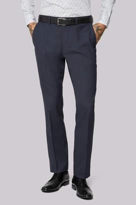 Moss Bros Wool Rich Machine Washable Navy Semi Plain Trousers