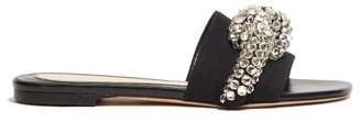 Alexander McQueen Crystal Bow Satin Slides - Womens - Black