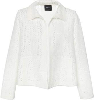 Akris Chaya Open Woven Plaid Embroidered Jacket